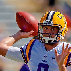 Oct 12, 2013; Baton Rouge, LA, USA; LSU Tigers quarterback Zach Mettenberger (8) prior to a game against the Florida Gators at Tiger Stadium. Mandatory Credit: Derick E. Hingle-USA TODAY Sports