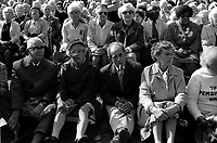 Pensioners listening to speaches after march and protest through central London in 1986