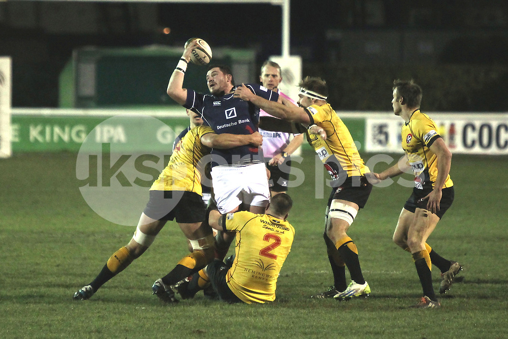 James Phillips in action during the Green King IPA Championship match between London Scottish &amp; Cornish Pirates at Richmond, Greater London on 16th January 2015<br /> <br /> Photo: Ken Sparks | UK Sports Pics Ltd<br /> London Scottish v Cornish Pirates, Green King IPA Championship, 16h January 2015<br /> <br /> &copy; UK Sports Pics Ltd. FA Accredited. Football League Licence No:  FL14/15/P5700.Football Conference Licence No: PCONF 051/14 Tel +44(0)7968 045353. email ken@uksportspics.co.uk, 7 Leslie Park Road, East Croydon, Surrey CR0 6TN. Credit UK Sports Pics Ltd