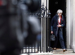 © Licensed to London News Pictures. 29/10/2018. London, UK. A television camera watches British Prime Minister THERESA MAY leave 10 Downing Street in London before Chancellor PHILIP HAMMOND delivers his Budget to Parliament. This will be the last budget before the UK is due to exit the European Union in March of 2019. Photo credit: Ben Cawthra/LNP