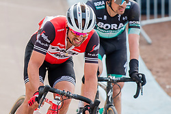 John Degenkolb (GER) of Trek - Segafredo during the 2019 Paris-Roubaix (1.UWT) with 257 km racing from Compiègne to Roubaix, France. 14th april 2019. Picture: Pim Nijland | Peloton Photos  <br /> <br /> All photos usage must carry mandatory copyright credit (Peloton Photos | Pim Nijland)