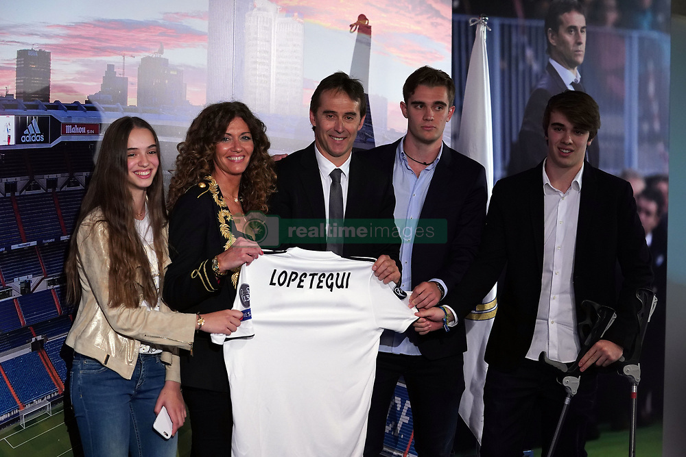 June 14, 2018 - Madrid, Spain - Julen Lopetegui poses with his family during a press conference as he became the new head coach of Real Madrid. Julen Lopetegui has been sacked as manager of Spain , after taking the Real Madrid job on Tuesday. (Credit Image: © Manu Reino/SOPA Images via ZUMA Wire)