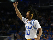 Nov 6, 2019; Los Angeles, CA, USA; UCLA Bruins guard Tyger Campbell (10) reacts in the second half against Long Beach State  at Pauley Pavilion. UCLA defeated Long Beach State 69-65.