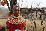 portrait of a Samburu Maasai woman. Samburu Maasai an ethnic group of semi-nomadic people Photographed in Samburu, Kenya