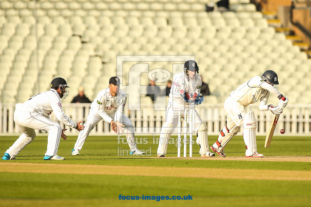 Ian Westwood of Warwickshire (right) defends during the LV County Championship Div One match at Edgbaston, Birmingham<br /> Picture by Andy Kearns/Focus Images Ltd 0781 864 4264<br /> 19/04/2015
