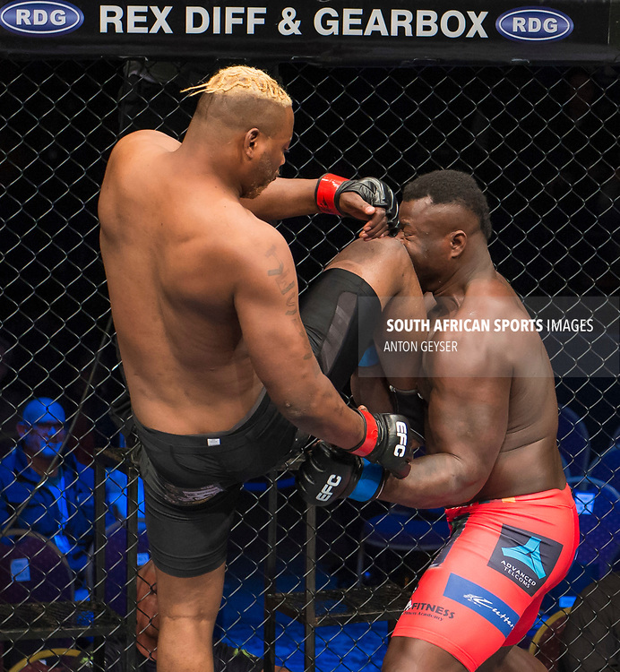 JOHANNESBURG, SOUTH AFRICA - MAY 13: (L-R) Mpatha Mikixi kicks Nico Yamdjie during EFC 59 Fight Night at Carnival City on May 13, 2017 in Johannesburg, South Africa. (Photo by Anton Geyser/EFC Worldwide/Gallo Images)