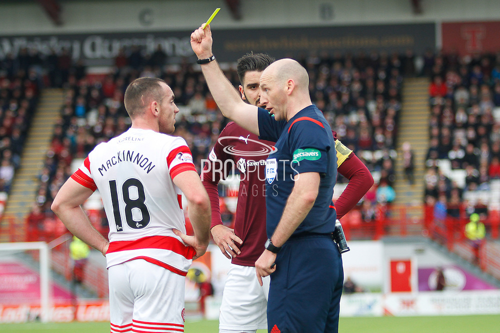 Hamilton Academical Midfielder Darian MacKinnon yellow carded during the Ladbrokes Scottish Premiership match between Hamilton Academical FC and Heart of Midlothian at New Douglas Park, Hamilton, Scotland on 24 January 2016. Photo by Craig McAllister.