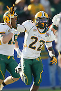 North Dakota State Bison running back Sam Ojuri (22) celebrates a touchdown during the FCS title game against Sam Houston State at FC Dallas Stadium in Frisco, Texas, on January 5, 2013.  (Stan Olszewski/The Dallas Morning News)