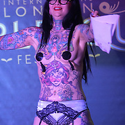 London,England,UK. 22th May 2017. Aima Indigo *London, UK preforms at the London Burlesque Festival 2017 - Tattoo Revue at Moth Club, Hackney,London,UK. by See Li