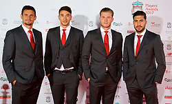 LIVERPOOL, ENGLAND - Tuesday, May 9, 2017: Liverpool's Dejan Lovren, Marko Grujic, goalkeeper Loris Karius and Emre Can arrive on the red carpet for the Liverpool FC Players' Awards 2017 at Anfield. (Pic by David Rawcliffe/Propaganda)