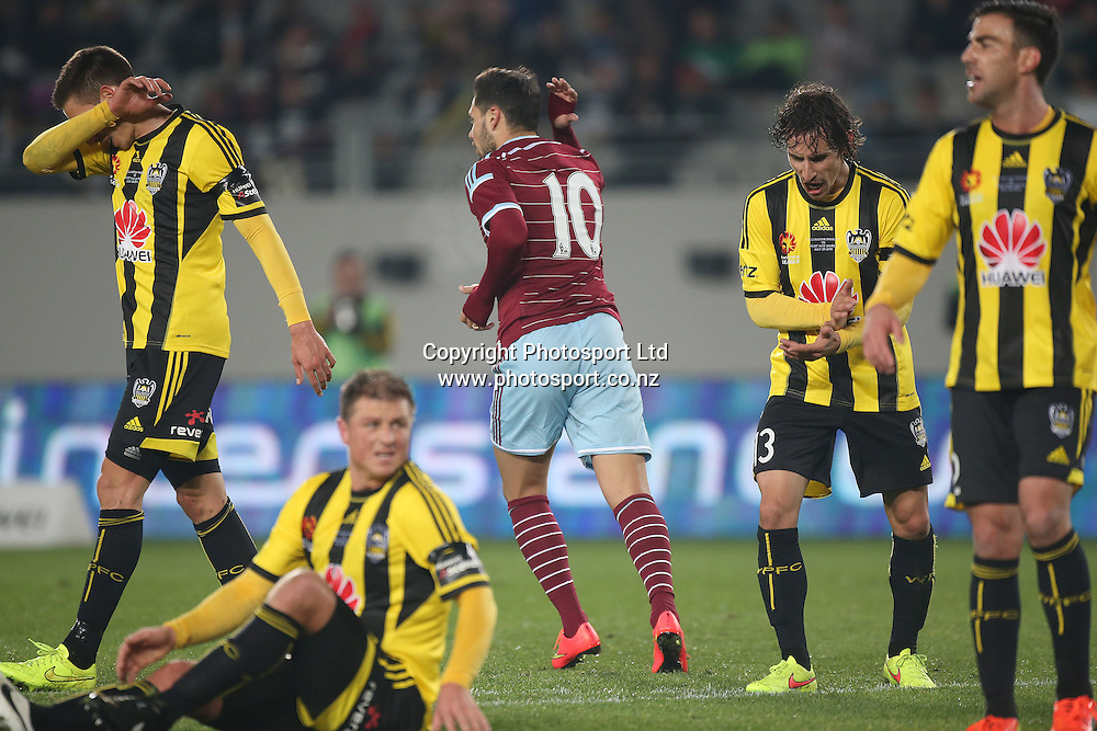 Mauro Zarate of West Ham strikes and scores in the second half during the Wellington Phoenix vs West Ham United football match played at Eden Park in Auckland on 23 July 2014. The Phoenix won the match 2-1. <br /> Credit; Peter Meecham/ www.photosport.co.nz