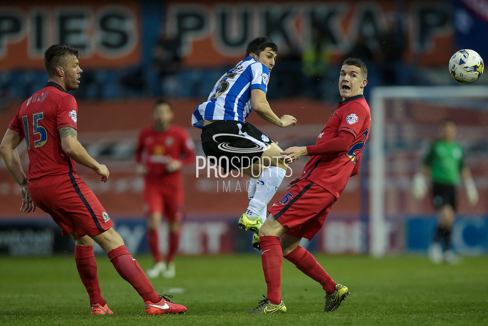 Fernando Forestieri (Sheffield Wednesday) heads the ball out to the wing during the Sky Bet Championship match between Sheffield Wednesday and Blackburn Rovers at Hillsborough, Sheffield, England on 5 April 2016. Photo by Mark P Doherty.