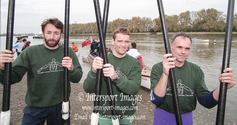 Putney. London. GREAT BRITAIN;  left to right.  Peter HAINING. Niall O&rsquo;TOOLE and Frans GOEBEL, <br /> <br /> 1995 Thames World Sculling Championships, Putney to Mortlake. Championship Course, River Thames.<br /> <br /> [Mandatory Credit; &quot;Photo, Peter Spurrier/Intersport-images]