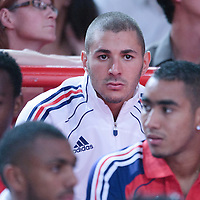 06 October 2010: France soccer player Karim Benzema is seen during the Minnesota Timberwolves 106-100 victory over the New York Knicks, during 2010 NBA Europe Live, at the POPB Arena in Paris, France.