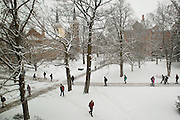 Students walk across campus in the snow. (Photo by Gonzaga University)