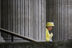 © Licensed to London News Pictures. 10/06/2016. London, UK. HRH Queen ELIZABETH II leaves a service of thanksgiving to mark the 90th birthday of Queen Elizabeth II, held at St Paul's Cathedral in London. Photo credit: Ben Cawthra/LNP