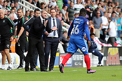 Peterborough United Manager Grant McCann celebrates on the touchline with goal scorer Junior Morias - Mandatory by-line: Joe Dent/JMP - 05/08/2017 - FOOTBALL - ABAX Stadium - Peterborough, England - Peterborough United v Plymouth Argyle - Sky Bet League One