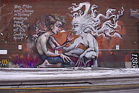 "German street art duo Herakut mural in Toronto a part of their ""A Giant Story book Project."""