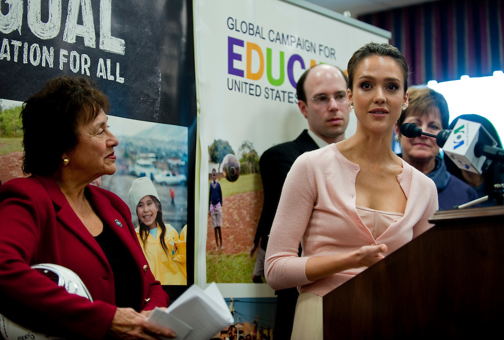 Apr 21,2010 - Washington, District of Columbia USA - .Jessica Alba joins congresswoman Nita Lowey at a press conference to unveil the Education for All Act and the launch of 1Goal: Education For All Campaign in the United States. The legislation would help achieve universal basic education for every child in the world by 2015 - a Millennium Development Goal that more than 192 U.N. member states agreed to achieve..(Credit Image: © Pete Marovich/ZUMA Press)