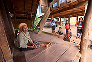 Laos, Xieng Khouang Province. Hill tribe people at Ban Nam Chat.
