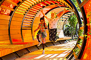 UNITED KINGDOM, London: 16 May 2019 <br /> Friends Ariana Sharma, aged 7 and Mercedes Milgrew, aged 8, enjoy the colours of a tubular walkway in Royal Botanical Gardens Kew new Children's Garden which officially opens on the 18th of May 2019. The impressive and colourful space covers 10,000 square metres and is designed around the elements that plants need to survive.<br /> Rick Findler / Story Picture Agency