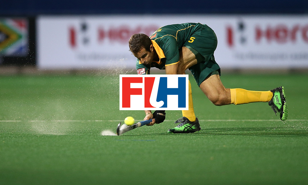 JOHANNESBURG, SOUTH AFRICA - JULY 09:  Austin Smith of South Africa passes the ball during day 1 of the FIH Hockey World League Semi Finals Pool B match between South Africa and Ireland at Wits University on July 9, 2017 in Johannesburg, South Africa.  (Photo by Jan Kruger/Getty Images for FIH)