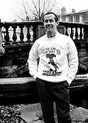 Ireland midfielder Liam Brady models a World Cup 'Italia '90' sweatshirt, produced to celebrate qualification for the World Cup in Italy. Thousands of Irish fans made the journey to follow the 'boys in green' in their quest for World Cup glory. <br />