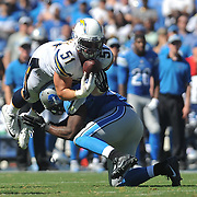 Sep 13, 2015; San Diego, CA, USA; San Diego Chargers linebacker Kyle Emanuel (51) intercepts Detroit Lions quarterback Matthew Stafford (not pictured) during the second half the game at Qualcomm Stadium. Mandatory Credit: Orlando Ramirez-USA TODAY Sports