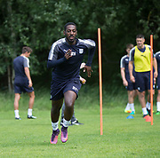 Dundee&rsquo;s Roarie Deacon during the warm up - Dundee FC pre-season training at Michelin Grounds, Dundee, Photo: David Young<br />