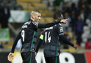 Sporting's player Slimani celebrates after scoring a goal, during the Portuguese First League football match Nacional vs Sporting held at Madeira Stadium, Funchal, Portugal, 13 February, 2016.  LUSA / GREGÓRIO CUNHA