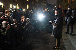 © Licensed to London News Pictures. 22/11/2018. London, UK. DANIELA TEJADA, wife of Matthew Hedges, reads a statement to reporters outside the Foreign Office in London after meeting with Foreign Secretary Jeremy Hunt to discuss her husbands jail sentence. Durham University PhD student Matthew Hedges has been given a life sentence in the United Arab Emirates (UAE) for spying, after being arrested at Dubai airport on 5 May. Photo credit: Peter Macdiarmid/LNP
