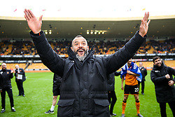 Free to use courtesy of SkyBet. Wolverhampton Wanderers manager Nuno and his players celebrate at the end of the game after securing automatic promotion from the Sky Bet Championship to the Premier League - Rogan/JMP - 15/04/2018 - Molineux - Wolverhampton, England - Wolverhampton Wanderers v Birmingham City - Sky Bet Championship.