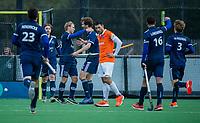 BLOEMENDAAL - Doelpunt bij Pinoke, Dennis Warmerdam (Pinoke) , Jord Beekmans (Pinoke)  tijdens de competitie hoofdklasse hockeywedstrijd heren, Bloemendaal-Pinoke (3-2)   COPYRIGHT KOEN SUYK