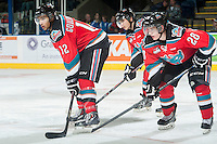 KELOWNA, CANADA - NOVEMBER 8: Tyrell Goulbourne #12, Nick Merkley #10 and Joe Gatenby #28 of Kelowna Rockets line up against the Vancouver Giants on November 8, 2014 at Prospera Place in Kelowna, British Columbia, Canada.   (Photo by Marissa Baecker/Shoot the Breeze)  *** Local Caption *** Tyrell Goulbourne; Nick Merkley; Joe Gatenby;