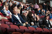 KELOWNA, CANADA - MARCH 23: Fans sing in the stands on March 23, 2014 at Prospera Place in Kelowna, British Columbia, Canada.   (Photo by Marissa Baecker/Shoot the Breeze)  *** Local Caption ***