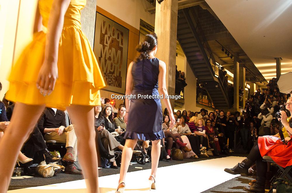 Models walk the runway during the Kickoff Reception & Eco Fashion Show.