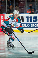 KELOWNA, CANADA - FEBRUARY 7: Dillon Dube #19 of the Kelowna Rockets skates with the puck against the Vancouver Giants on February 7, 2018 at Prospera Place in Kelowna, British Columbia, Canada.  (Photo by Marissa Baecker/Shoot the Breeze)  *** Local Caption ***
