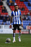 Jermaine Pennant of Wigan Athletic looks to take a free kick. Skybet football league championship match , Wigan Athletic v Leeds Utd at the DW Stadium in Wigan, Lancs on Saturday 7th March 2014.<br /> pic by Chris Stading, Andrew Orchard sports photography.