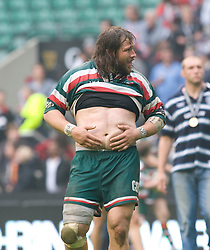 Matin Castrogiovanni gestures to the crowd after winning the Guinness Premiership final. The Guinness Premiership final 2010 between Leicester Tigers and Saracens at Twickenham Stadium, London, England. May 29th, 2010. .