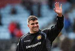 Sam Skinner of Exeter Chiefs waves to the crowd during the pre-match warm-up - Mandatory byline: Patrick Khachfe/JMP - 07966 386802 - 29/02/2020 - RUGBY UNION - The Twickenham Stoop - London, England - Harlequins v Exeter Chiefs - Gallagher Premiership