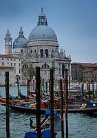 VENICE, ITALY - CIRCA MAY 2015: View of the Basilica Santa Maria della Salute and the Gran Canal in Venice