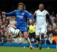 Photo: Ed Godden.<br />Chelsea v West Ham United. The Barclays Premiership. 09/04/2006. Hernan Crespo (L) is followed by Danny Gabbidon, West Ham.