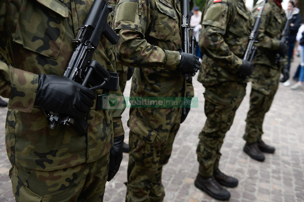 May 3, 2019 - Krakow, Poland - Militaries of Poland seen attending the formal celebrations during the Constitution day in Krakow..Polish Constitution Day on May 3rd of 1791, is consider to be the world's second oldest national constitution. (Credit Image: © Omar Marques/SOPA Images via ZUMA Wire)