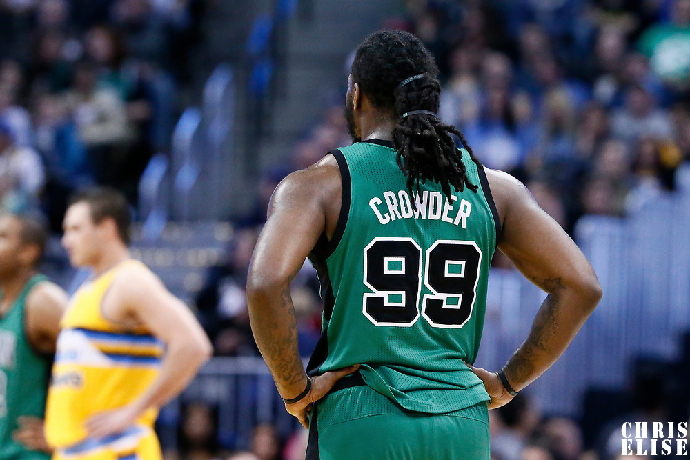10 March 2017: Boston Celtics forward Jae Crowder (99) rests during the Denver Nuggets 119-99 victory over the Boston Celtics, at the Pepsi Center, Denver, Colorado, USA.