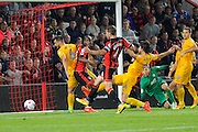 AFC Bournemouth midfielder Dan Gosling scores to give Bournemouth a 2-1 lead during the EFL Cup match between Bournemouth and Preston North End at the Vitality Stadium, Bournemouth, England on 20 September 2016. Photo by Graham Hunt.