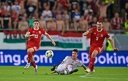 BUDAPEST, HUNGARY - Tuesday, June 11, 2019: Wales' Harry Wilson (L) and Sam Vokes (R) during the UEFA Euro 2020 Qualifying Group E match between Hungary and Wales at the Ferencváros Stadion. (Pic by David Rawcliffe/Propaganda)