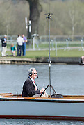 Henley. United Kingdom. Boat Race commentator, Robert TREHERNE -JONES, 2014 Henley Boat Race, Henley Reach, Annual Women's Boat Race.  River Thames; Sunday  - 30/03/2014  [Mandatory Credit; Peter SPURRIER/ Intersport Images],