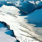 Chigmit Mountains and icefields rise sharply above Lake Clark National Park, Alaska
