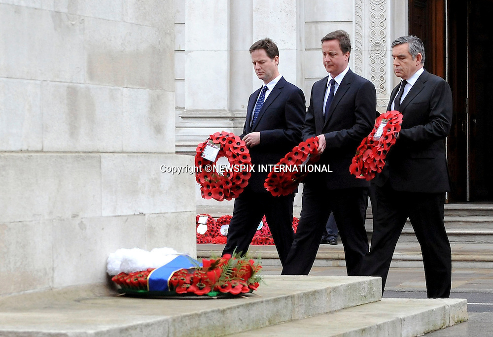 """Nick Clegg, David Cameron and Prime Minister Gordon Brown arriving at the Cenotaph for the 65th Anniversary of VE Day. ..A national service of commemoration to mark the 65th anniversary of Victory in Europe Day (VE Day) was held at the Cenotaph today. TRH The Prince of Wales and The Duchess of Cornwall, the Prime Minister and leaders of the two main opposition parties and Defence Chiefs, were joined by representatives of World War II associations, veterans of the conflict, current Service personnel whose grandparents fought in WWII and members of the public. Whitehall, London_08/05/2010VE Day marks the official end of hostilities in Europe for the Second World War on 8 May 1945, following the formal unconditional surrender of German Forces. It was an occasion of national celebration, yet also one of sombre reflection for those who would not return.Photo Credit: ©J Merrill_Newspix International..**ALL FEES PAYABLE TO: """"NEWSPIX INTERNATIONAL""""**..PHOTO CREDIT MANDATORY!!: NEWSPIX INTERNATIONAL..IMMEDIATE CONFIRMATION OF USAGE REQUIRED:.Newspix International, 31 Chinnery Hill, Bishop's Stortford, ENGLAND CM23 3PS.Tel:+441279 324672  ; Fax: +441279656877.Mobile:  0777568 1153.e-mail: info@newspixinternational.co.uk."""