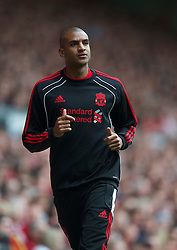 LIVERPOOL, ENGLAND - Saturday, April 23, 2011: Liverpool's substitute David Ngog during the Premiership match against Birmingham City at Anfield. (Photo by David Rawcliffe/Propaganda)